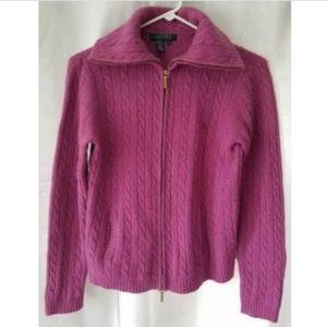 Lauren Ralph Lauren M fuschia cardigan sweater
